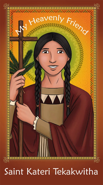 Prayer Card - Saint Kateri Tekakwitha | Holy card for kids