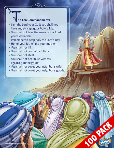 100-Pack of Brother Francis Mini Poster - The Ten Commandments