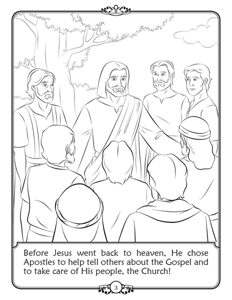 What is a Bishop - Walking with Jesus Catholic coloring book - Jesus chooses apostles