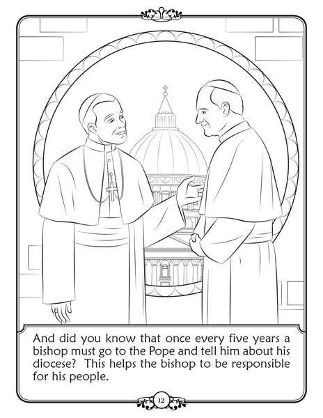 What is a Bishop - Walking with Jesus Catholic coloring book - visiting the Pope