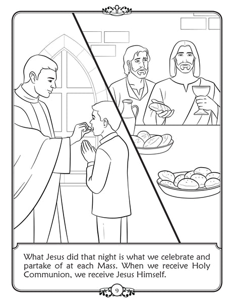 What is Holy Communion - Walking in Faith Catholic coloring book - Blessed Eucharist
