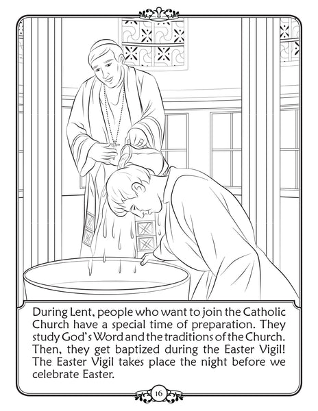 What is Lent - Walking In Faith coloring book by Brother Francis - baptism