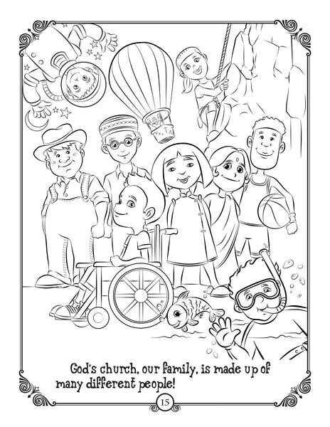Brother Francis Coloring and Activity Book - Born into the Kingdom - God's Church family sample coloring page