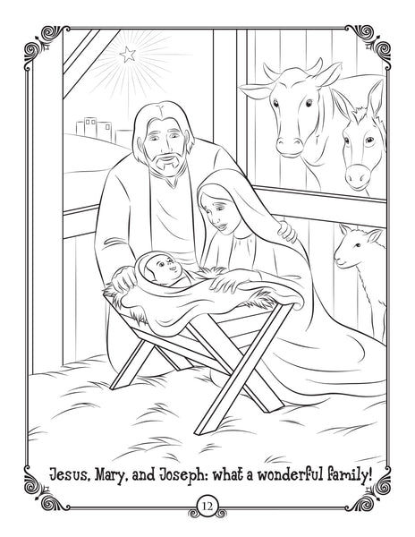 Brother Francis Coloring and Activity Book - O Holy Night The King is Born - Nativity coloring page