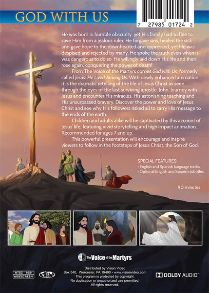 God With Us - feature length animated movie about the life of Jesus - DVD back synopsis