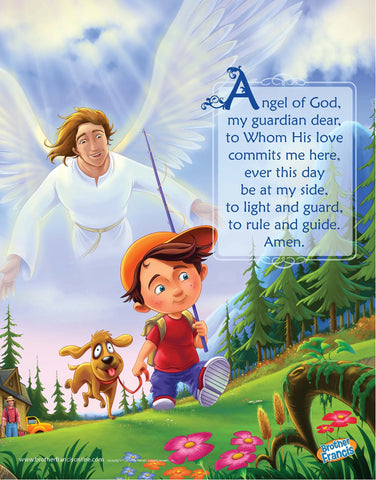 Guardian Angel for little boy mini poster by Brother Francis