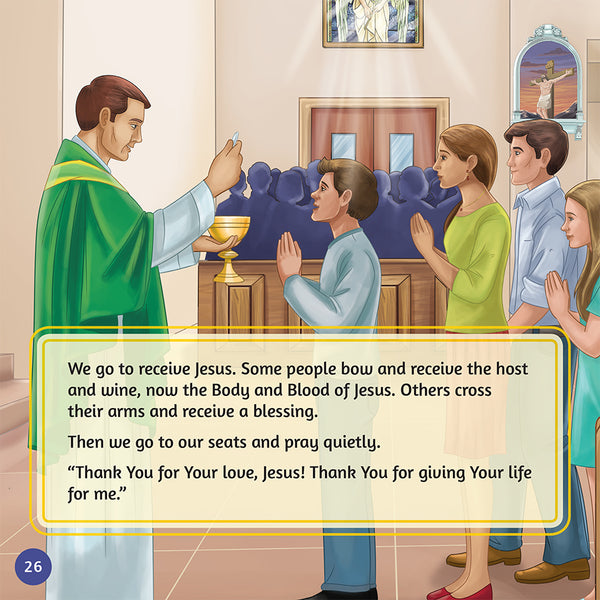 Let's Go to Mass children's reader by Brother Francis sample page - recieving Holy Communion.