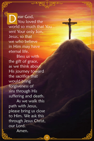 The Stations of the Cross book for Catholic kids - sample page with prayer.