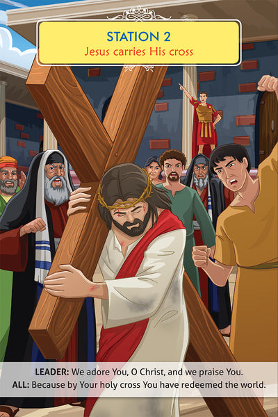 The Stations of the Cross book for Catholic kids by Brother Francis - Station 2 sample page.