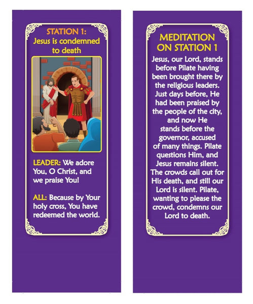 The Traditional Stations of the Cross devotional fan booklet - Station one