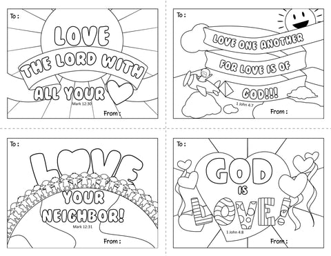Download and Print - Valentine's Day Cards Coloring Page