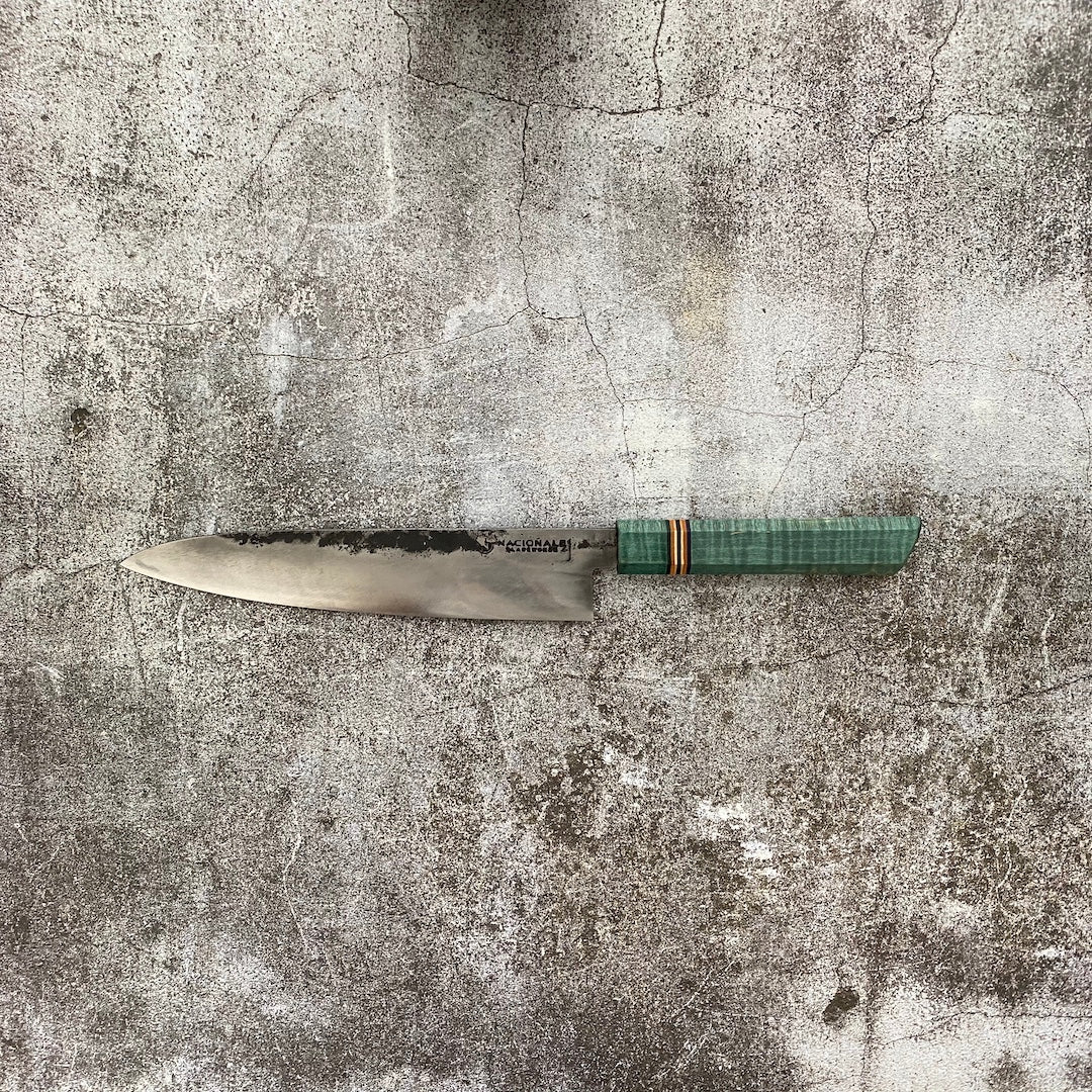 Limited Edition 52100 Carbon Steel Gyuto. Teal Stabilized Flame Maple