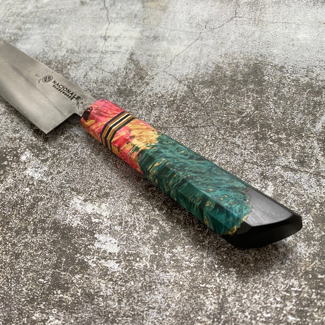 Limited Edition 215mm Gyuto. Stabilized Triple Dyed Maple Burl