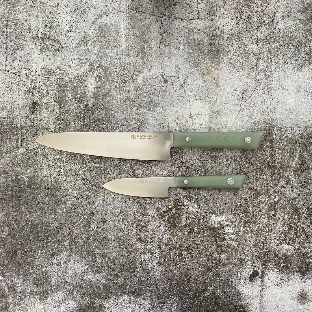 2-pc Set Petty + Gyuto. Jade G10 Handle