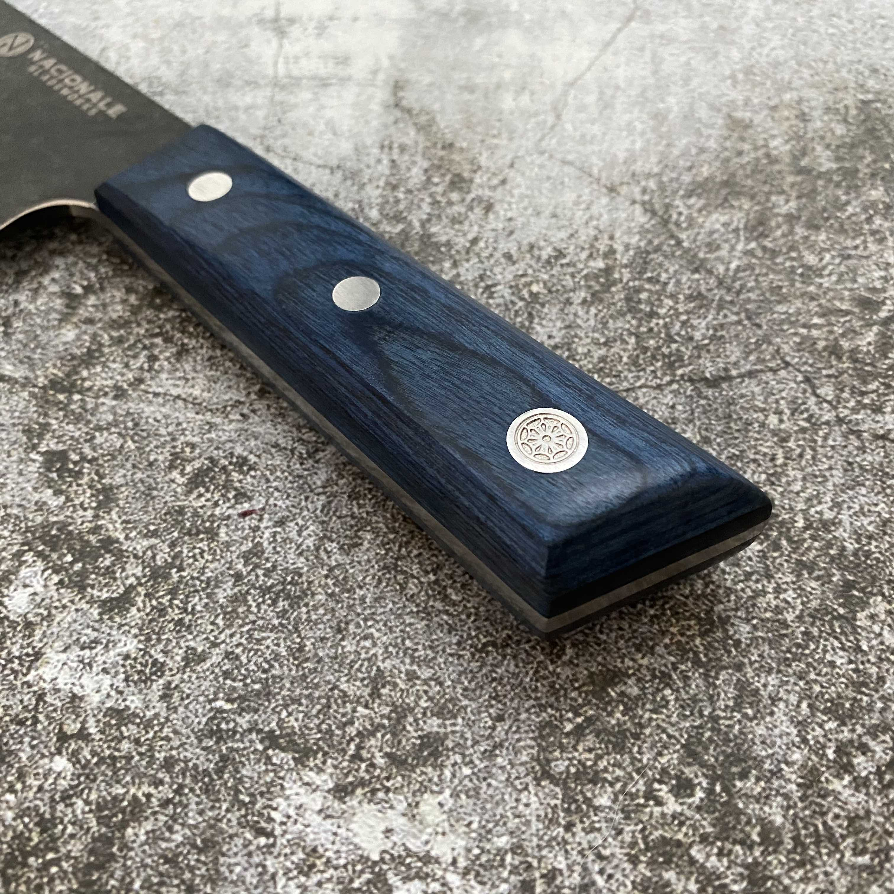 180mm Double Bevel Deba. Full Tang. Blue Pakka Wood Scales