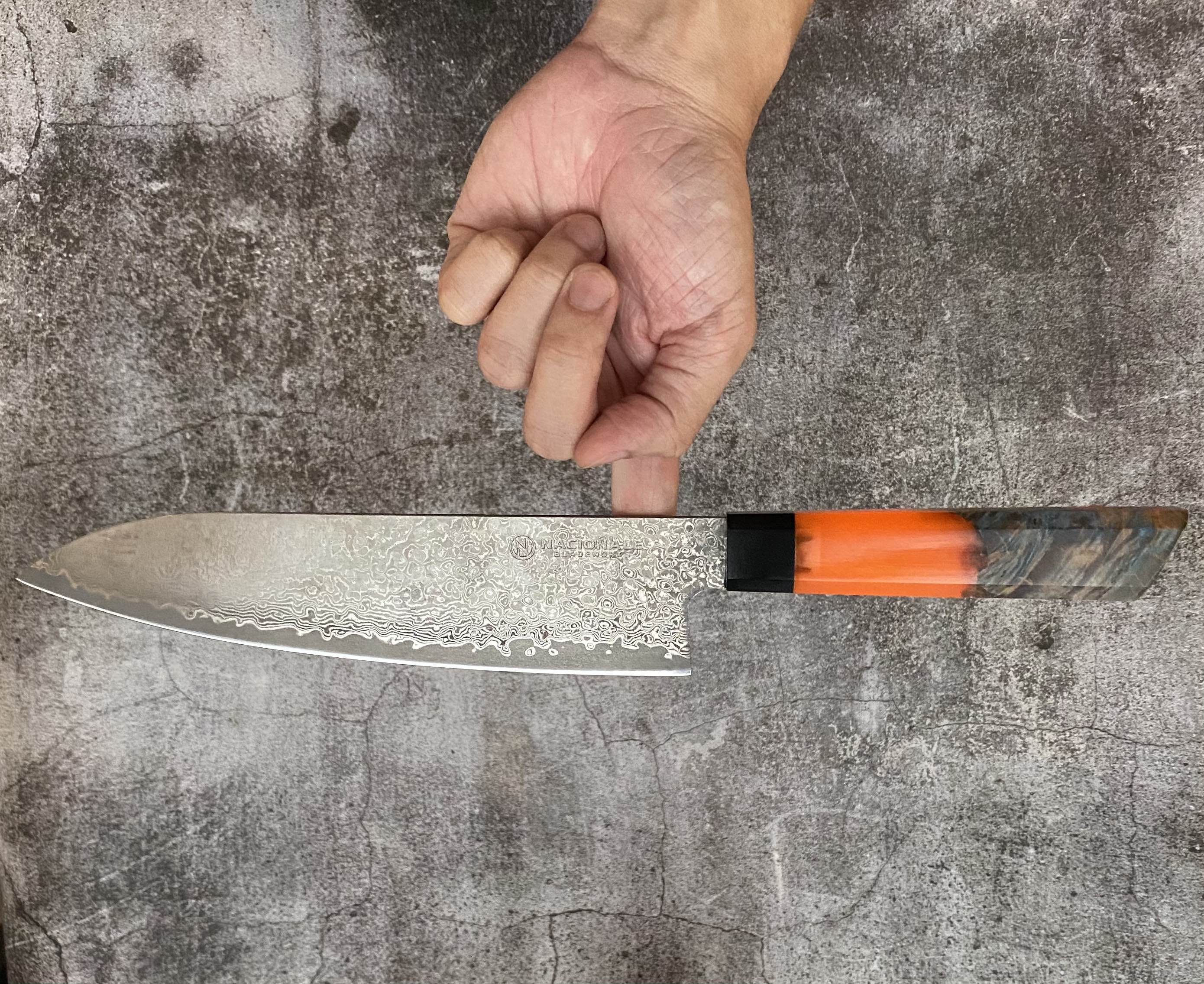215mm Damascus Tall Gyuto. Stabilized Maple + Orange Resin Handle. G10 Ferrule