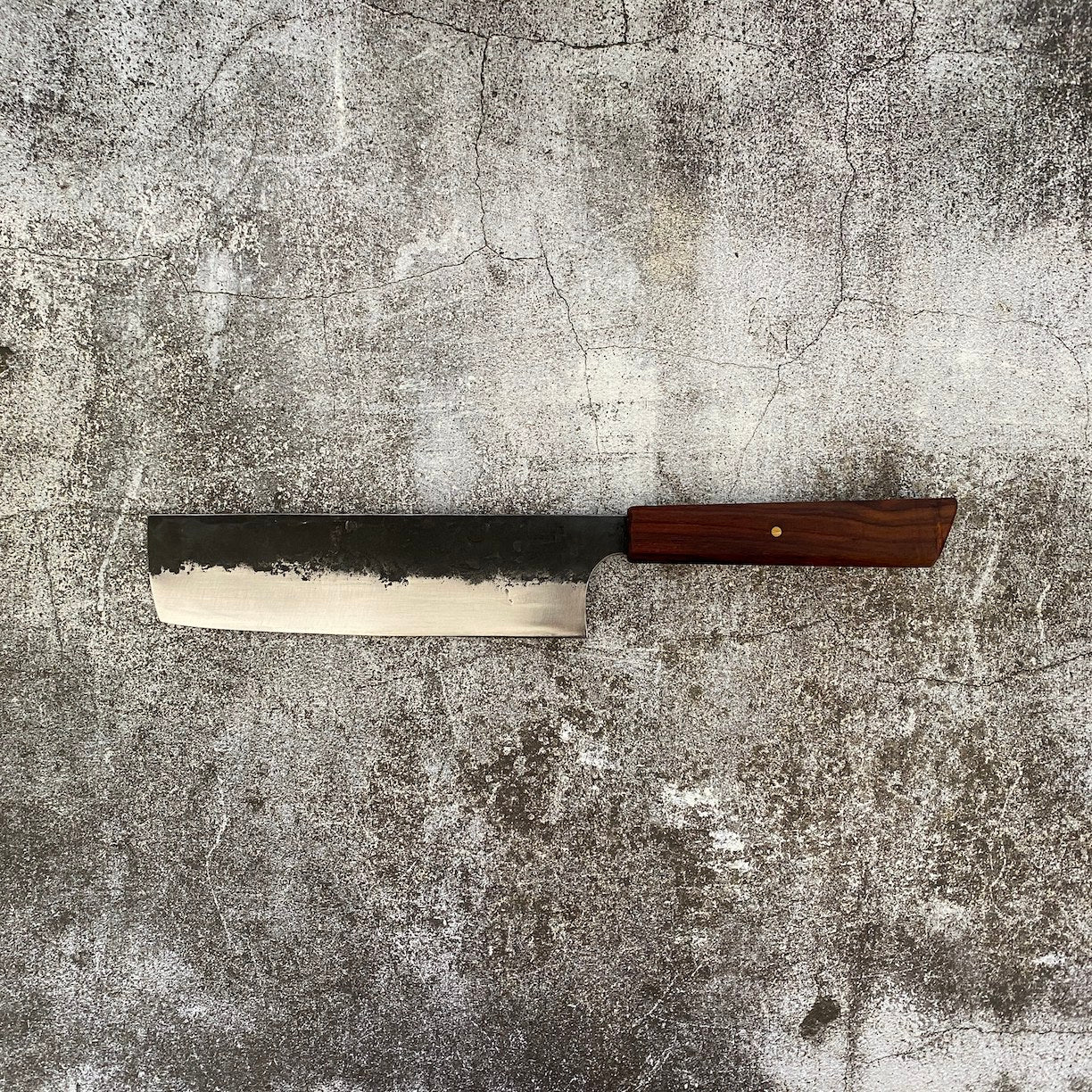 180mm Heavy Nakiri. Kurouchi Leaf Spring. Rosewood. Brass Pin