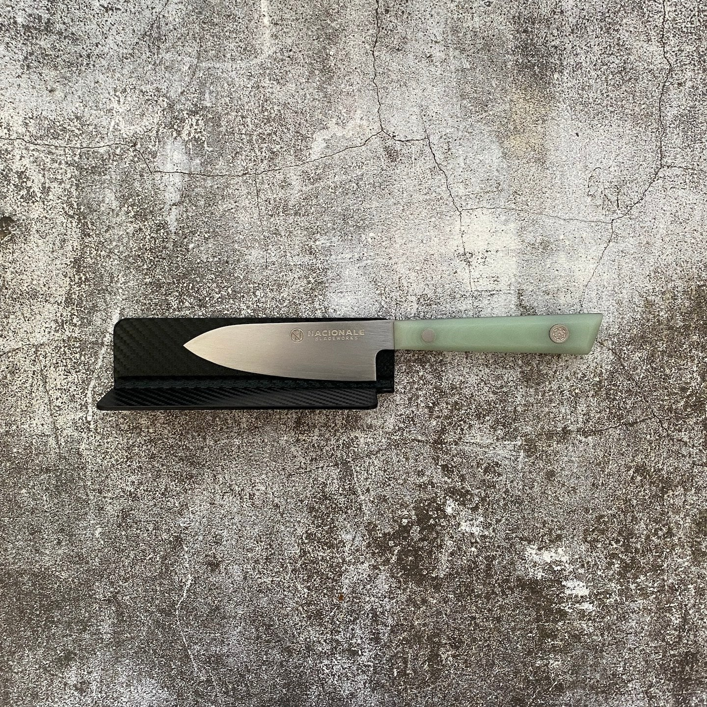 145mm Magnetic Knife Guard. Denim Blue PU