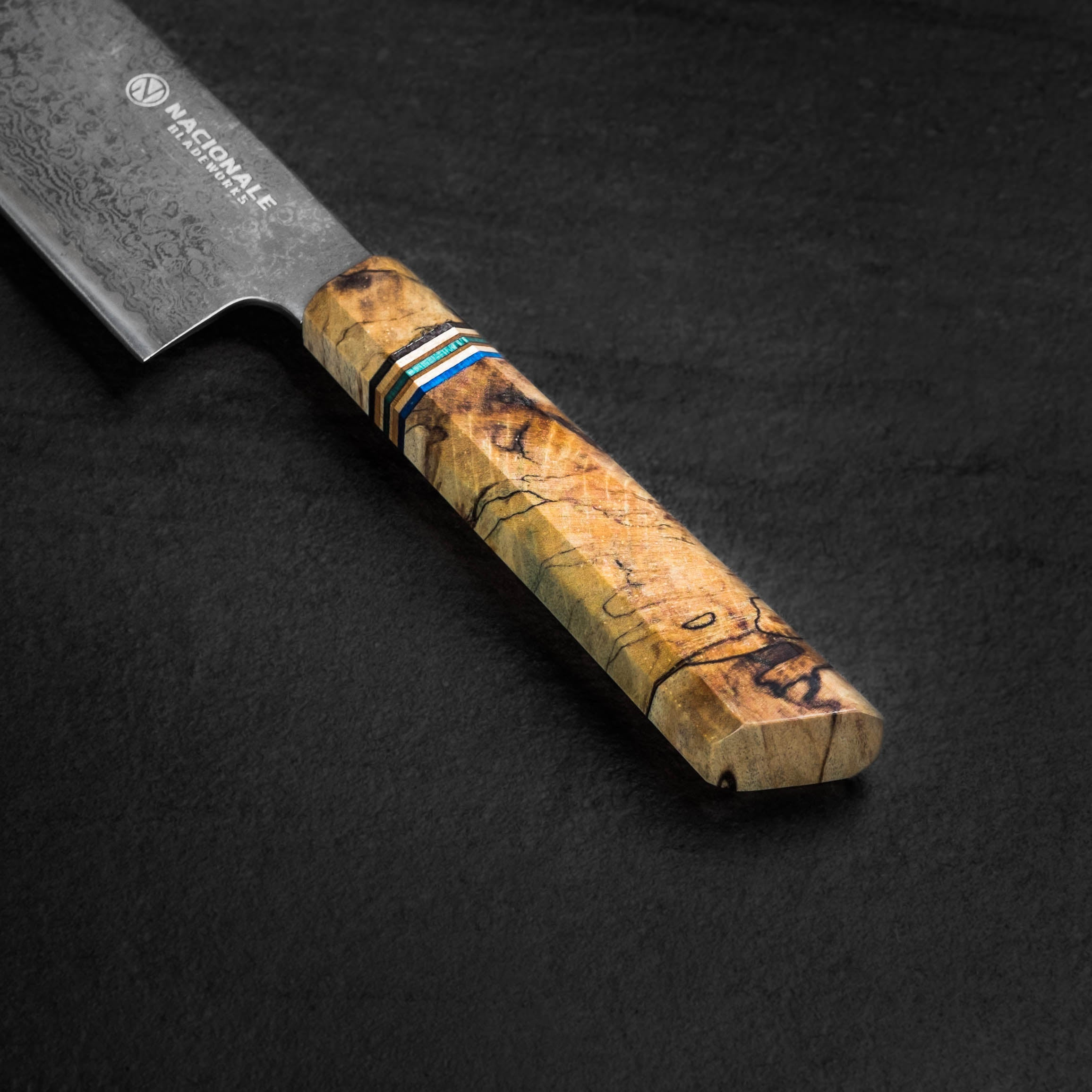 215mm Damascus Tall Gyuto. Stabilized Spalted Maple Handle. Skateboard Spacer