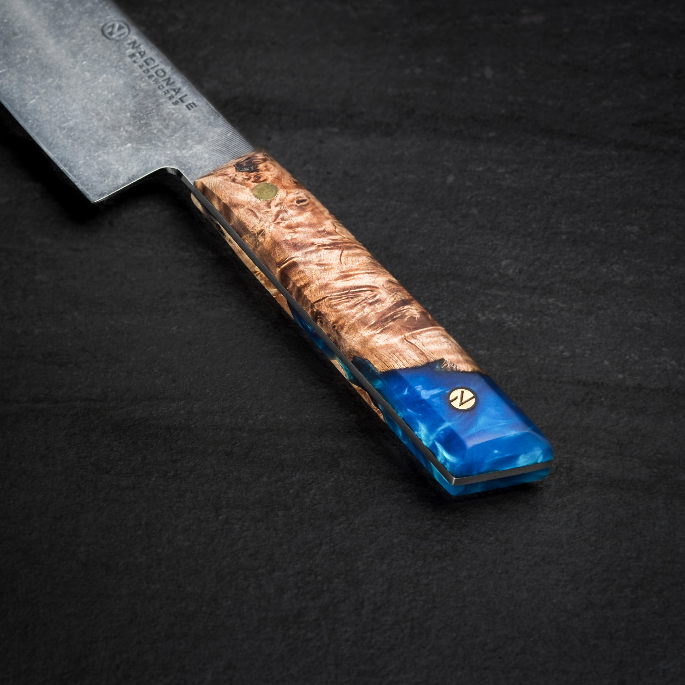 215mm Heavy Tall Gyuto. Stabilized Maple Resin Handle. Full Tang