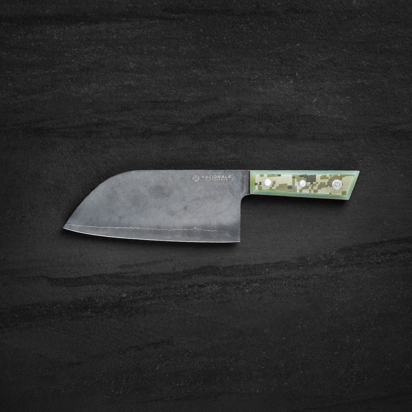 180mm Extra Tall Santoku. Full Tang Digital Camou G10 Scales. Ballistic Nylon Case.