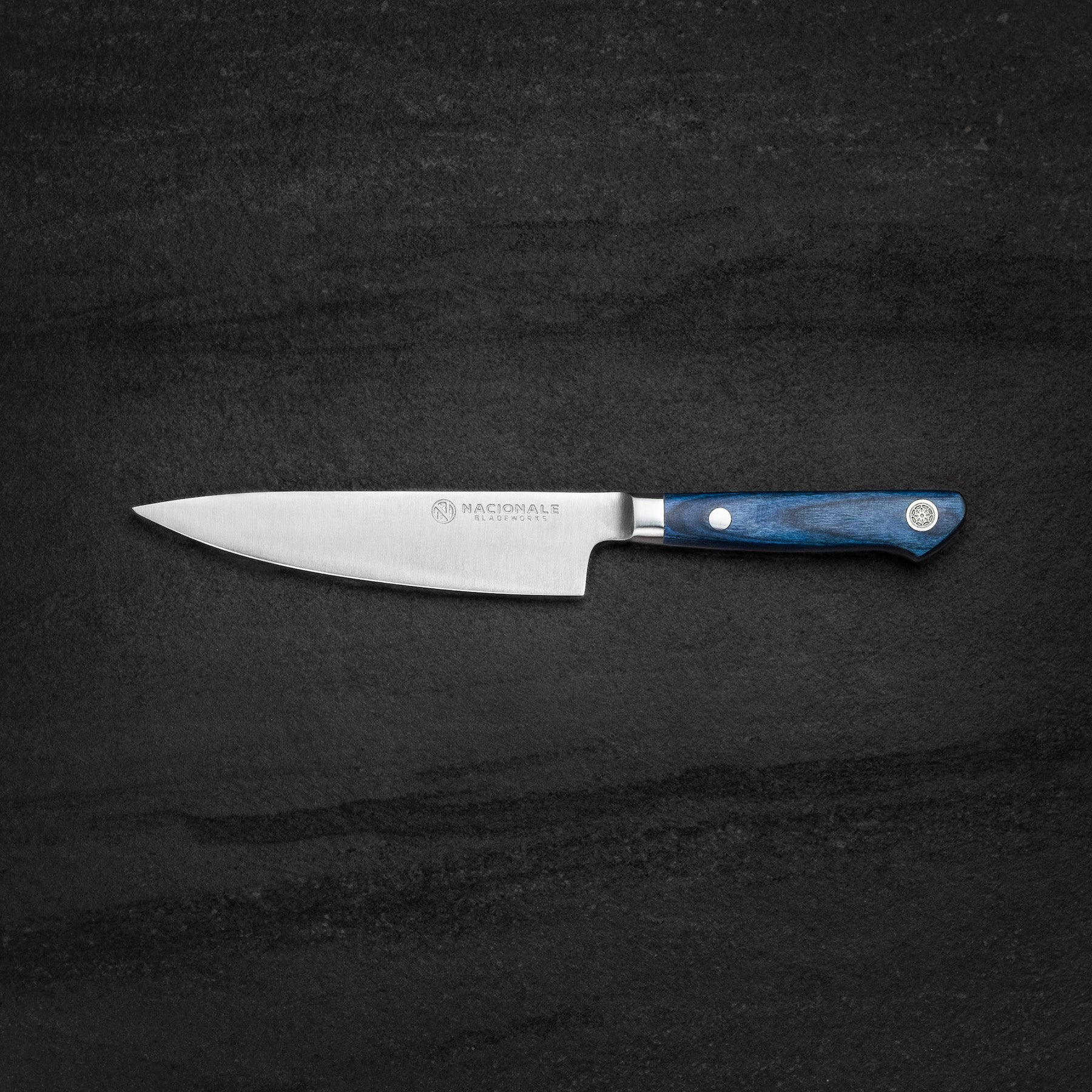 145mm Petty. AUS8. Full Tang. Blue Pakkawood Handle