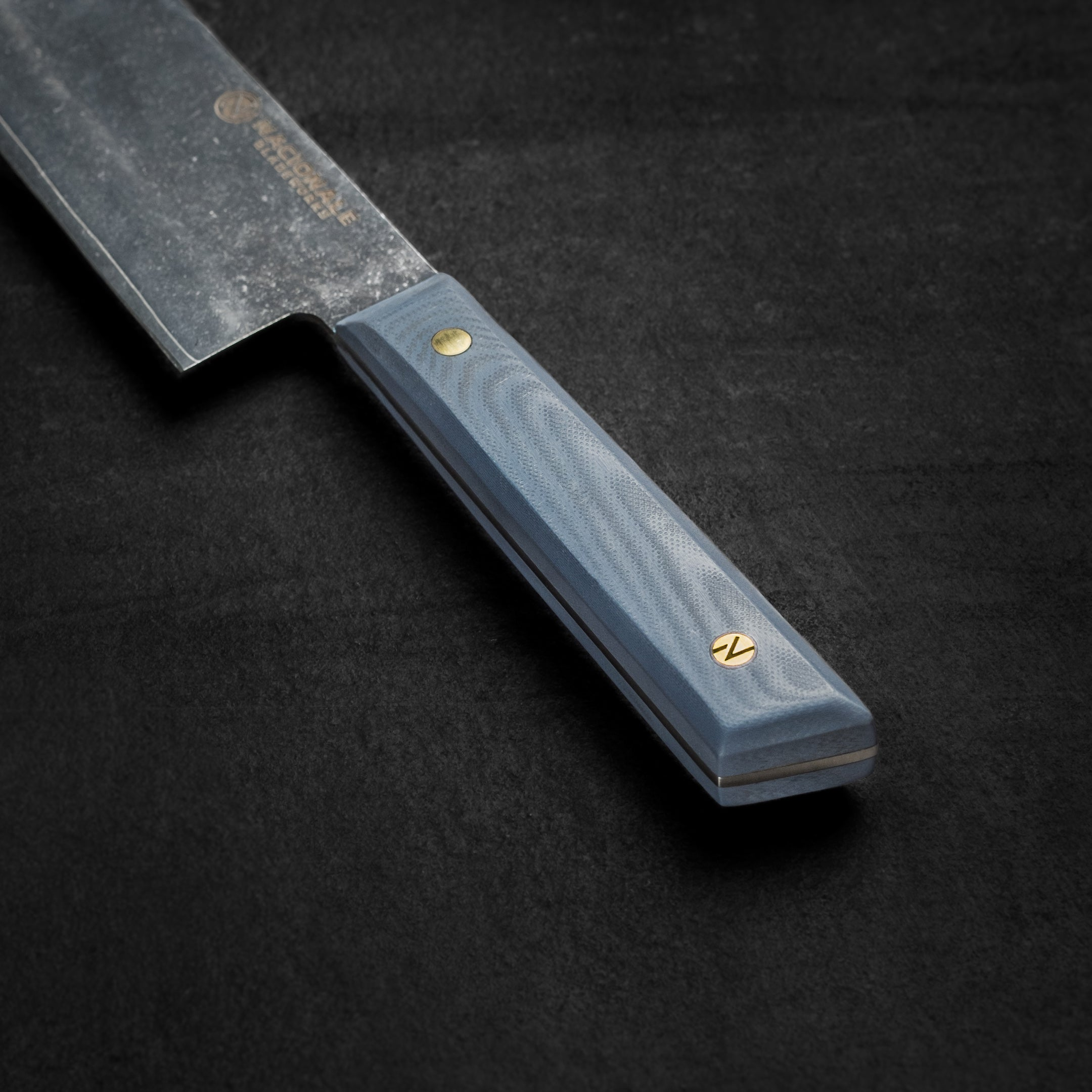 215mm Tall Gyuto. Navy G10 Handle. Full Tang