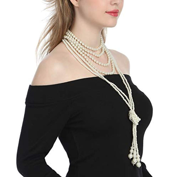 e2643f146 Zivyes Fashion Faux Pearls 1920s Pearls Necklace Gatsby Accessories Cl –  Ahmed Global
