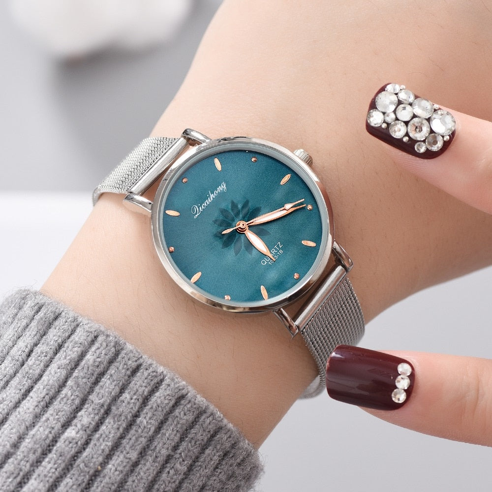 Watches For Women Luxury Silver Popular Pink Dial Flowers Metal Ladies Watch Women Wrist Watch