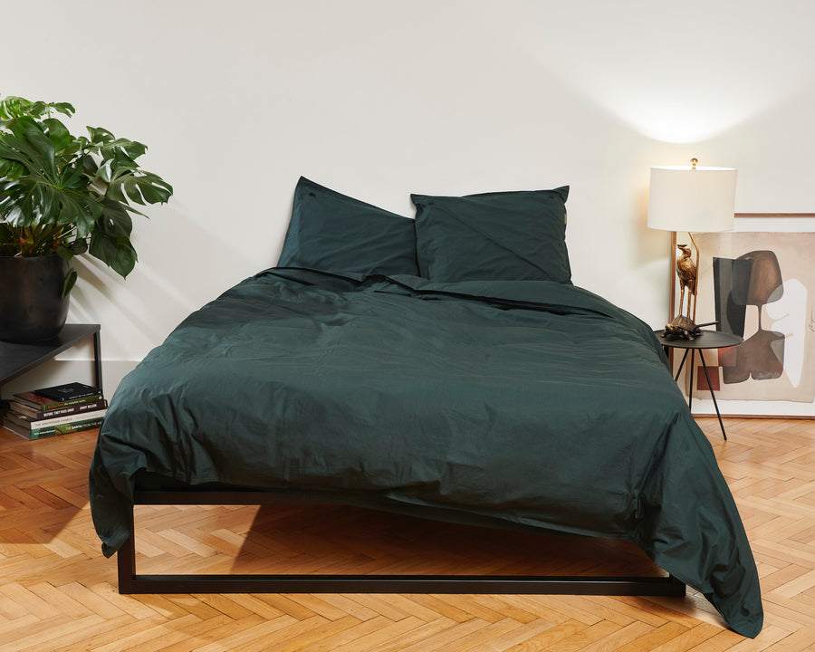 Kandalama percale duvet cover set (dark green with dark green leaves) - Four Leaves