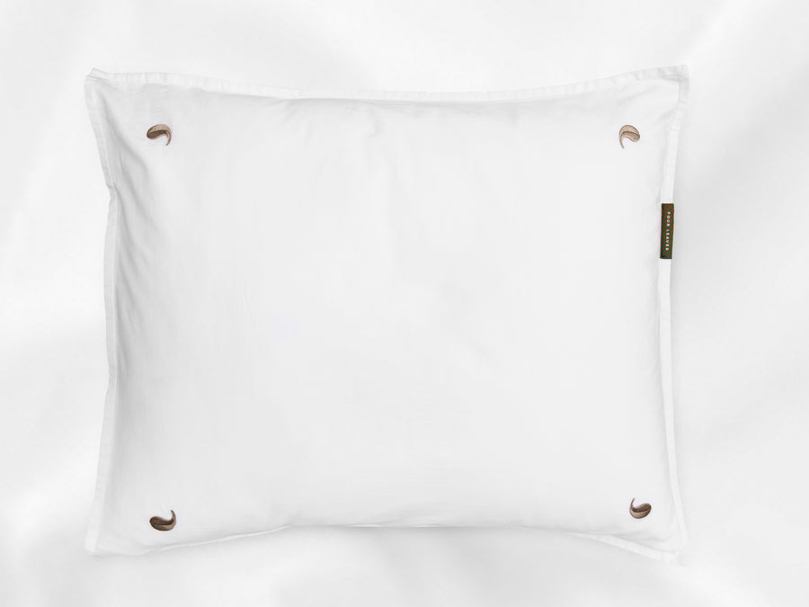 Bentota sateen pillowcase junior (white with beige leaves) - Four Leaves