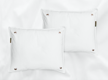 Bentota percale pillowcases set (white with beige leaves) - Four Leaves