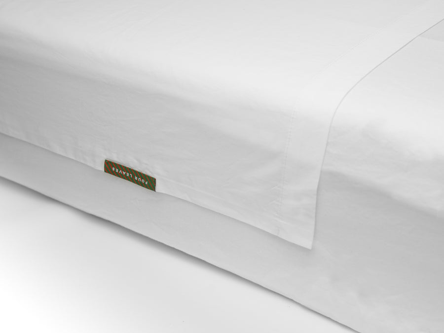 Nayakakanda percale flat sheet (white) - Four Leaves