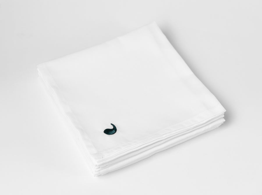 Kalundewa sateen napkins (white with dark green leaves - set of six) - Four Leaves