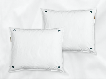 Kalundewa sateen pillowcases set (white with dark green leaves) - Four Leaves