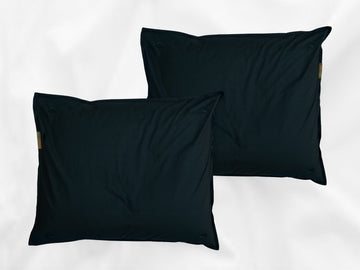 Kandalama percale pillowcases set (dark green with dark green leaves) - Four Leaves