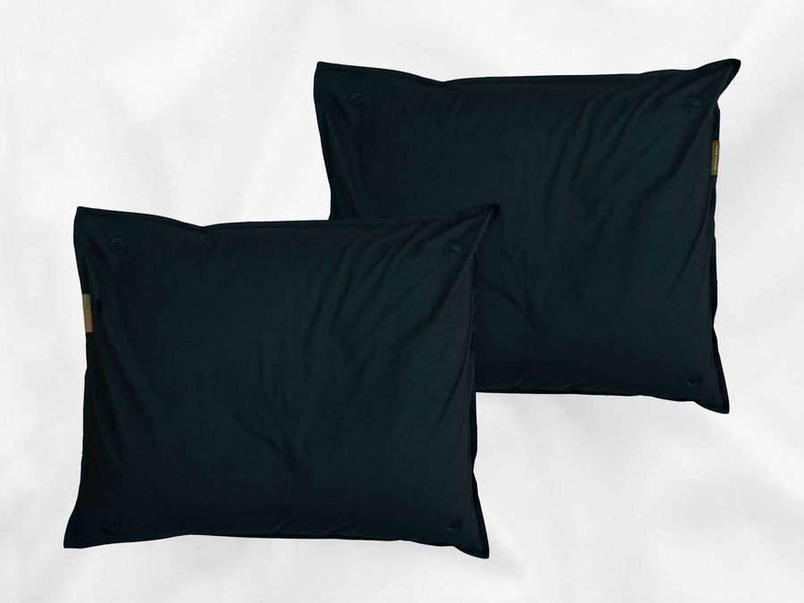 Kandalama percale pillowcases set (dark green with dark green leaves)