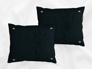 Namal Uyana percale pillowcases set (dark green with pink leaves) - Four Leaves