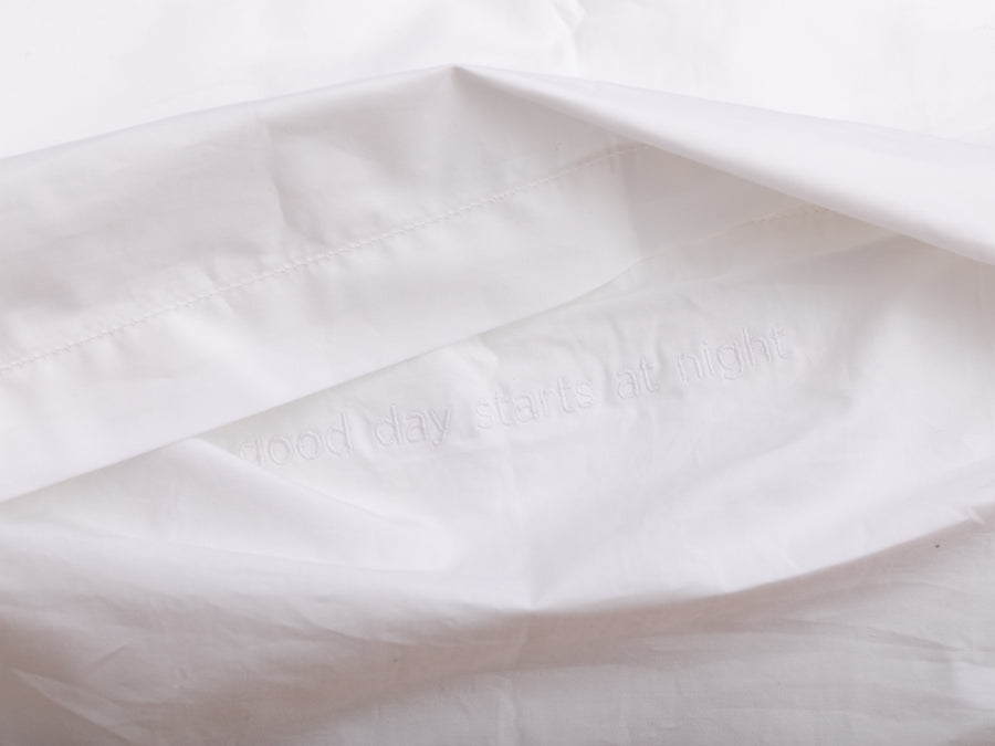 Nayakakanda sateen pillowcases set (white with white leaves) - Four Leaves