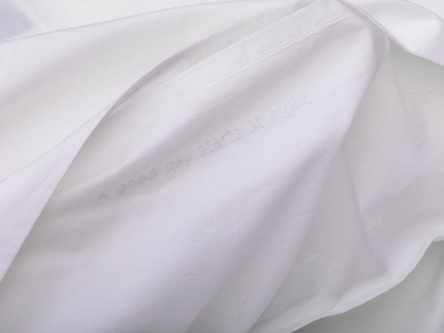 Nayakakanda percale duvet cover set (white with white leaves) - Four Leaves