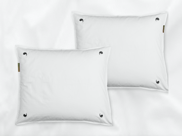 Pinnawala sateen pillowcases set (white with grey leaves) - Four Leaves