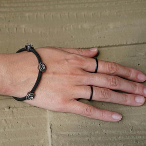 Black Thin Stack Rings, Set of 6, Size 4-9