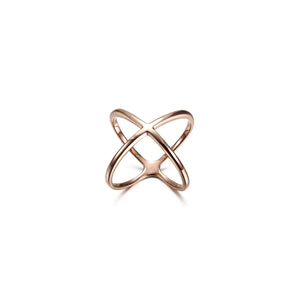 Rose Gold Skinny Crisscross Band Ring