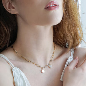 Sun with Heart-shaped Pearl Pendant Necklace