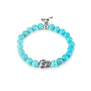 Load image into Gallery viewer, Skull Turquoise Bead Stretch Bracelet