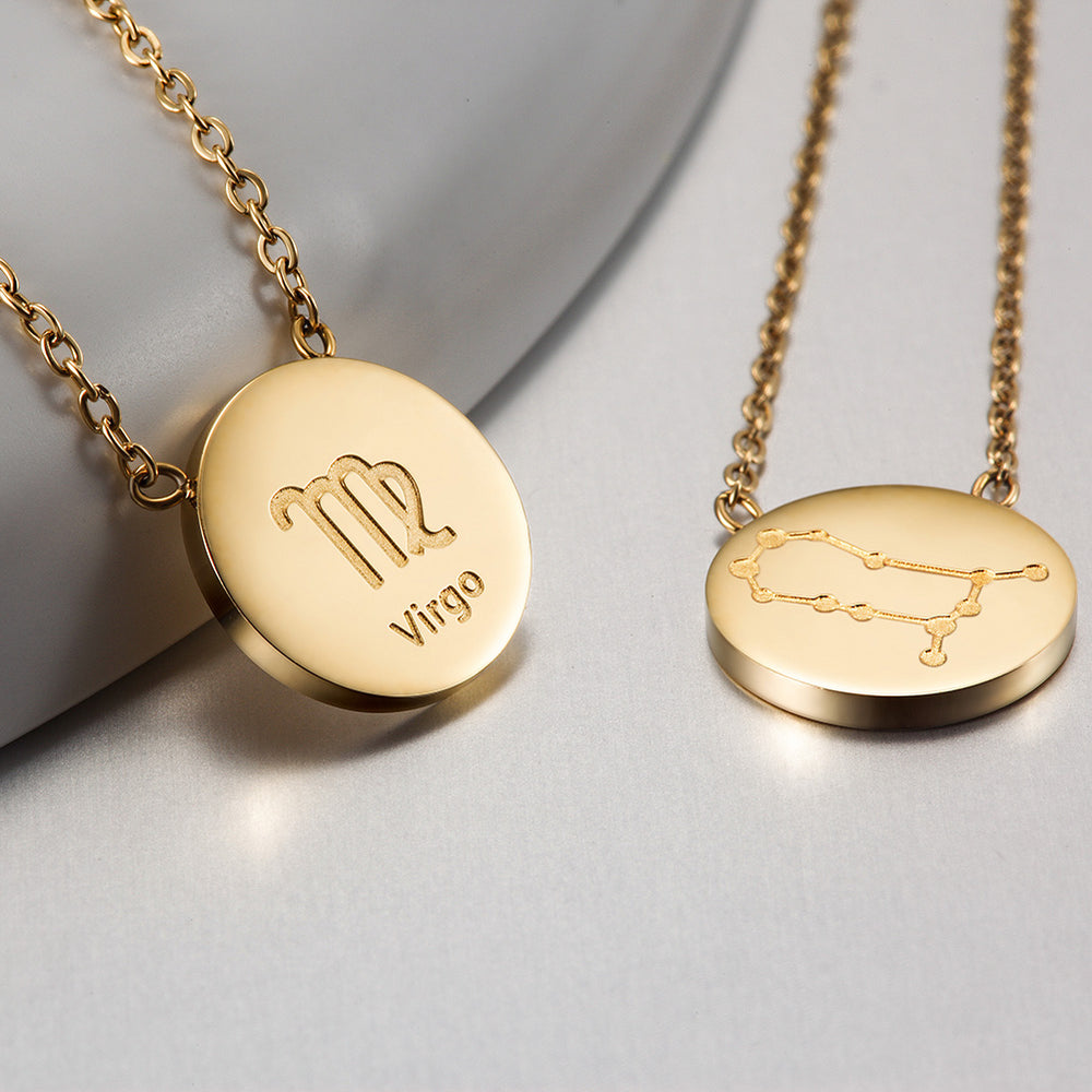 GLOSSY GOLD ROUND ZODIAC NECKLACE