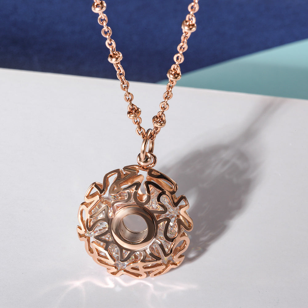 Load image into Gallery viewer, Flower Carved Locket CZ Necklace