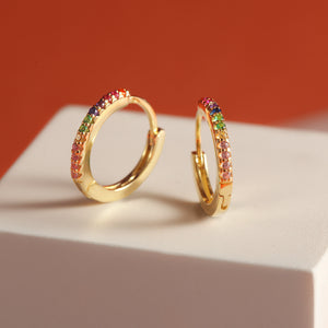 Rainbow Petite Hoop Earrings