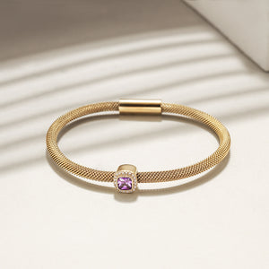 Brilliant Cut CZ Halo Bangle Bracelet