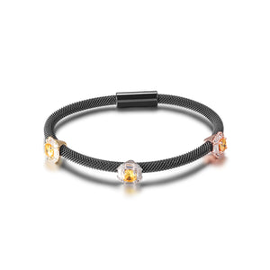 Load image into Gallery viewer, Tricolor PAVÉ SQUARE STATION BANGLE